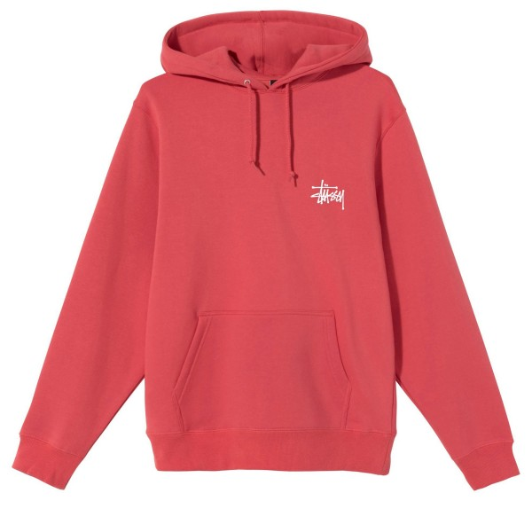 Stussy Basic Pullover Hooded Sweatshirt (Pale Red)