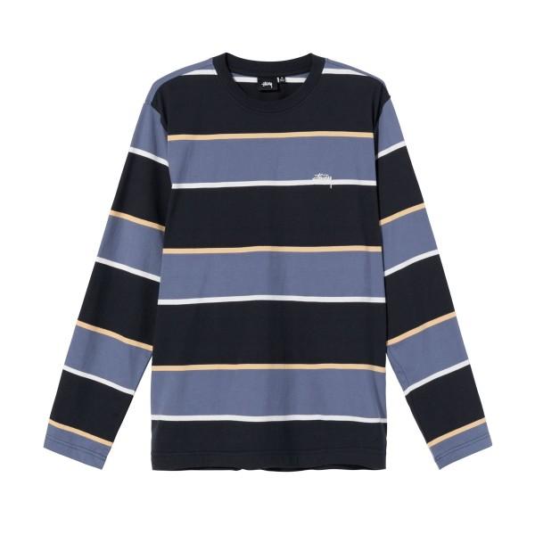 Stussy Bold Stripe Long Sleeve Crew T-Shirt (Black)