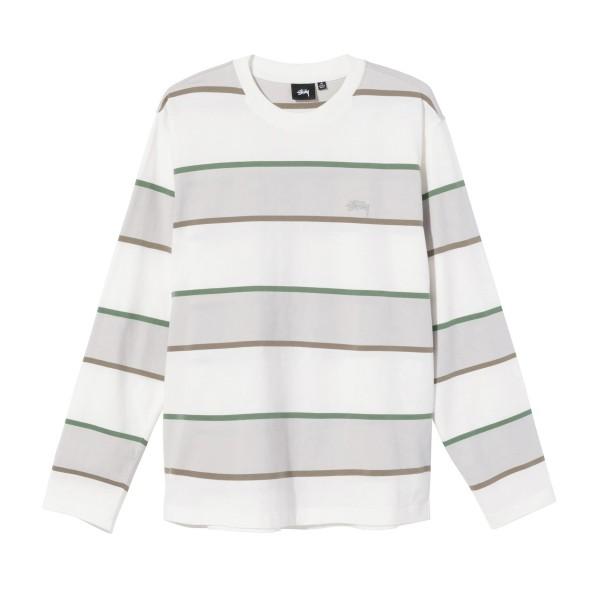 Stussy Bold Stripe Long Sleeve Crew T-Shirt (Bone)