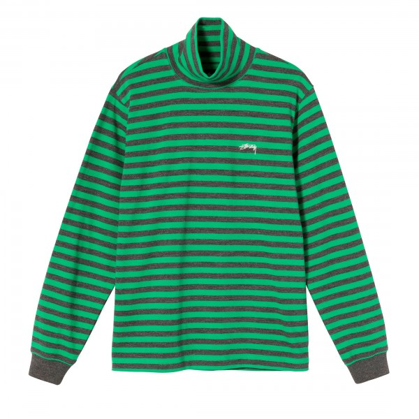Stussy Classic Stripe Long Sleeve Turtleneck (Green)