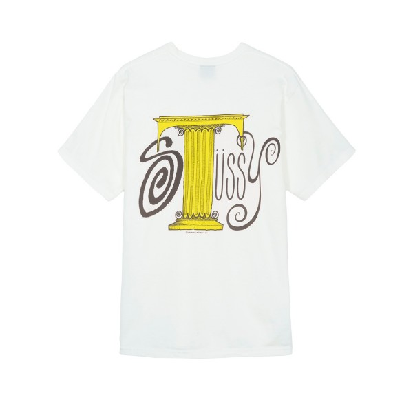 Stussy Column Pigment Dyed Crew Neck T-Shirt (Natural)