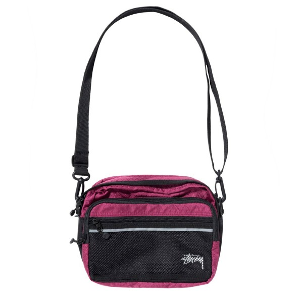 Stussy Diamond Ripstop Shoulder Bag (Berry)