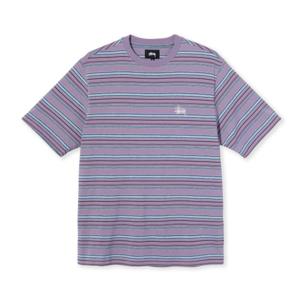 Stussy Heather Stripe Crew Neck T-Shirt (Lavender)