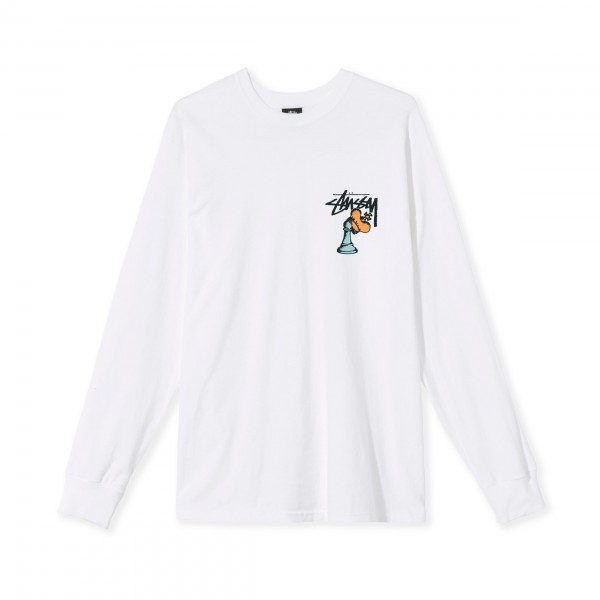 Stussy Hidden Pawn Long Sleeve T-Shirt (White)