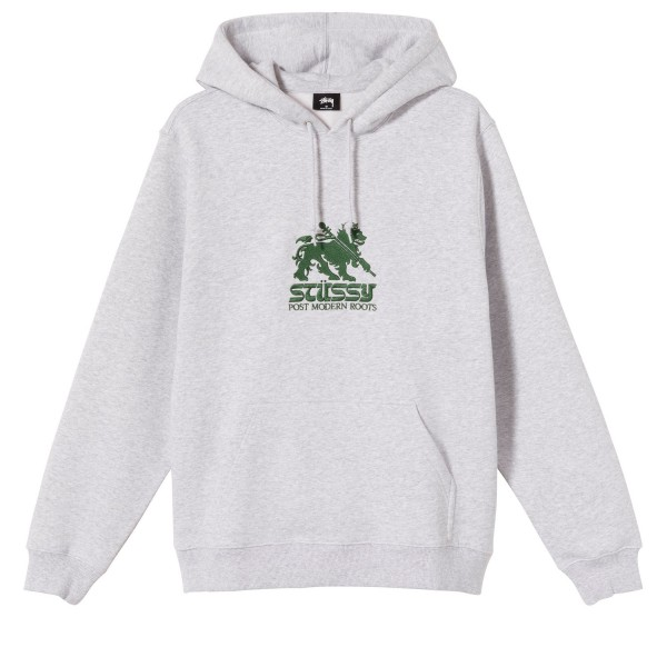 Stussy Lion Applique Pullover Hooded Sweatshirt (Ash Heather)