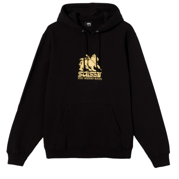 Stussy Lion Applique Pullover Hooded Sweatshirt (Black)