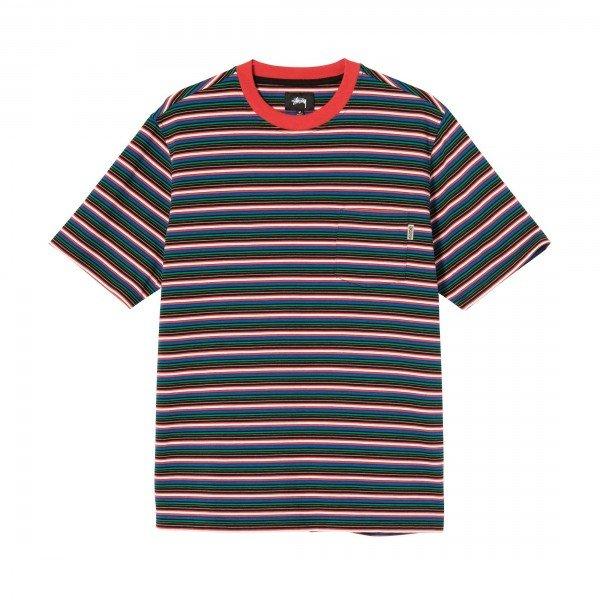 Stussy Mini Stripe Crew T-Shirt (Red)