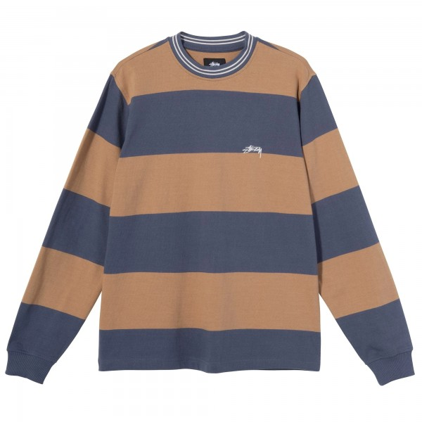 Stussy Moore Stripe Long Sleeve Crew T-Shirt (Navy)