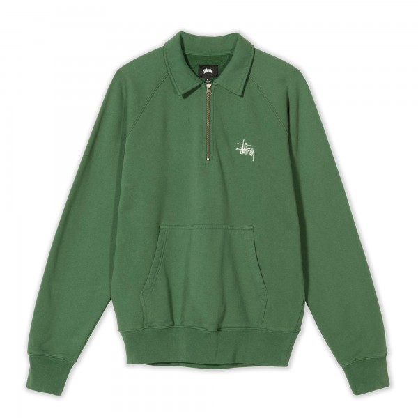 Stussy Polo Zip Fleece Sweatshirt (Green)