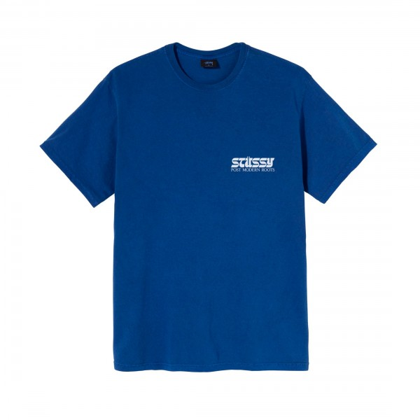 Stussy Post Modern Roots Pigment Dyed T-Shirt (Blue)