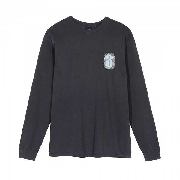 Stussy S Frame Pigment Dyed Long Sleeve T-Shirt (Black)