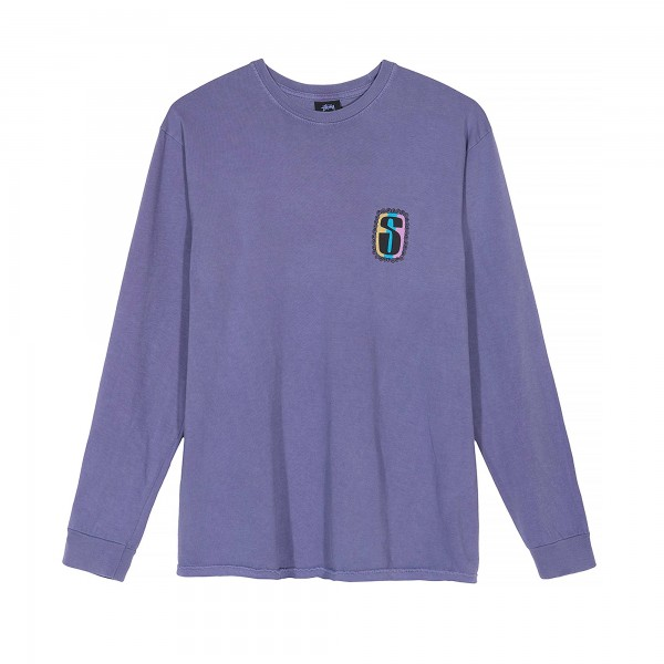 Stussy S Frame Pigment Dyed Long Sleeve T-Shirt (Purple)