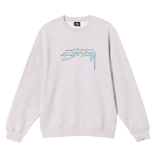 Stussy Smooth Stock Applique Crew Neck Sweatshirt (Ash Heather)