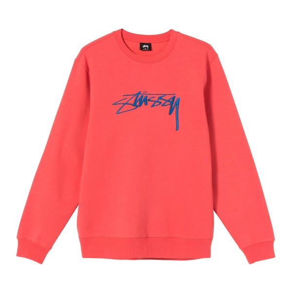 Stussy Smooth Stock Applique Crew Neck Sweatshirt (Pale Red)