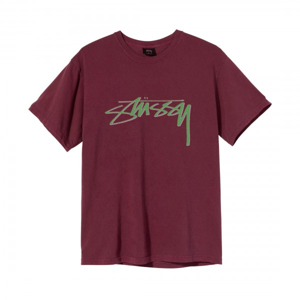 Stussy Smooth Stock Pigment Dyed T-Shirt (Wine)