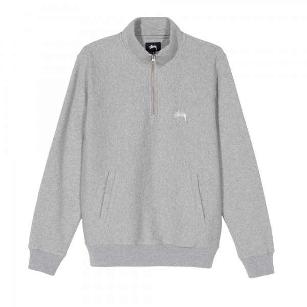 Stussy Stock Fleece Mock Neck Sweatshirt (Ash Heather)