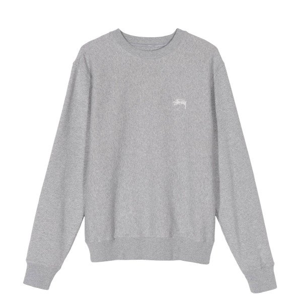 Stussy Stock Logo Crew Neck Sweatshirt (Grey Heather)