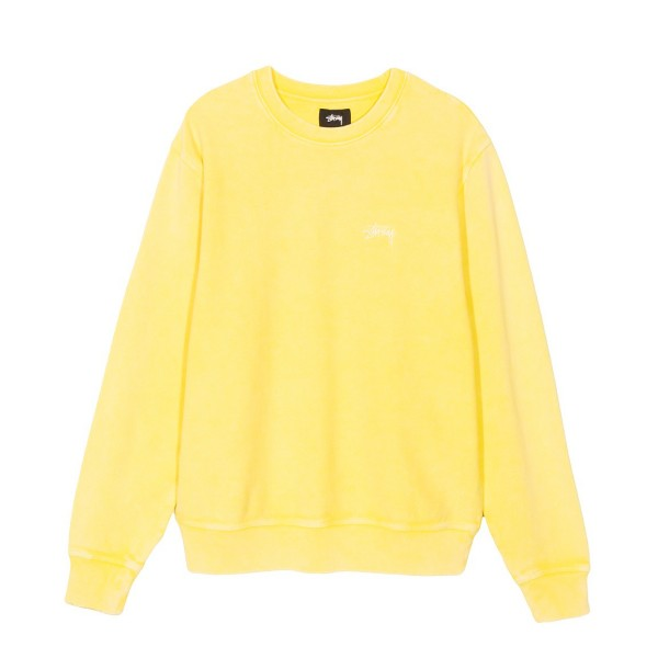 Stussy Stock Logo Crew Neck Sweatshirt (Yellow)