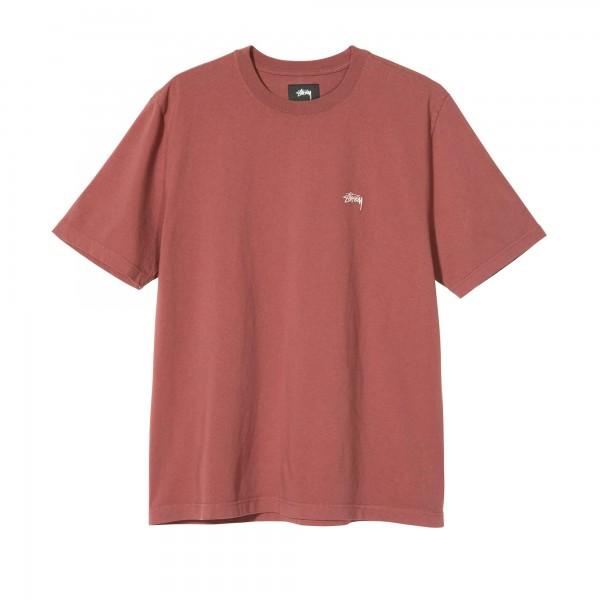 Stussy Stock Logo Crew T-Shirt (Burgundy)