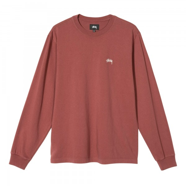 Stussy Stock Logo Long Sleeve Crew T-Shirt (Burgundy)