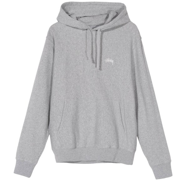Stussy Stock Logo Pullover Hooded Sweatshirt (Grey Heather)