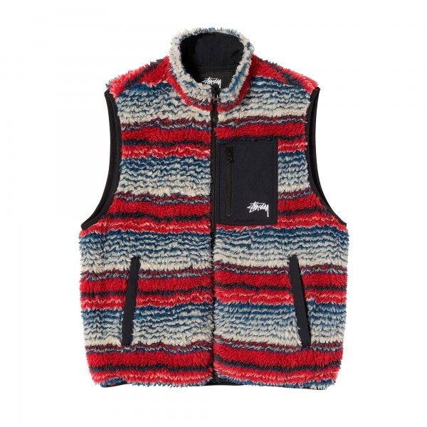 Stussy Striped Sherpa Fleece Vest (Multi)