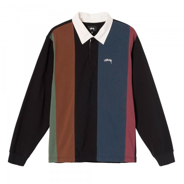 Stussy Vert Stripe Long Sleeve Rugby Shirt (Black)