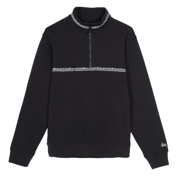 Stussy Woven Tape Mock Neck Sweatshirt (Black)