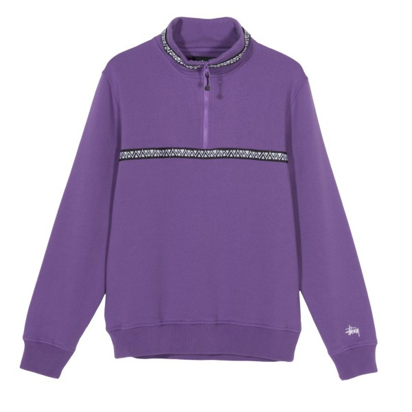 Stussy Woven Tape Mock Neck Sweatshirt (Purple)