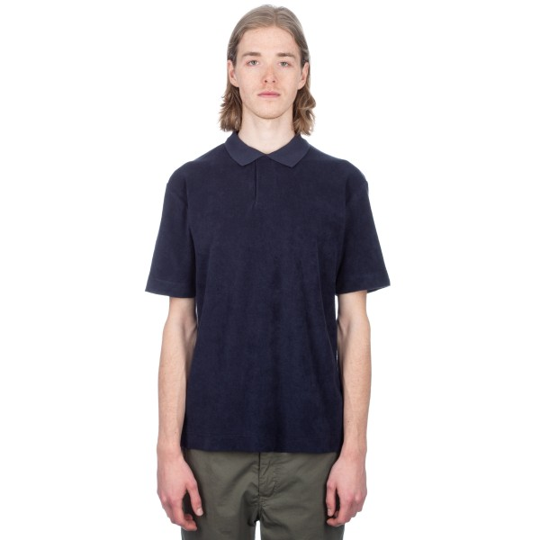 Sunspel Cotton Towelling Relaxed Fit Polo Shirt (Navy)
