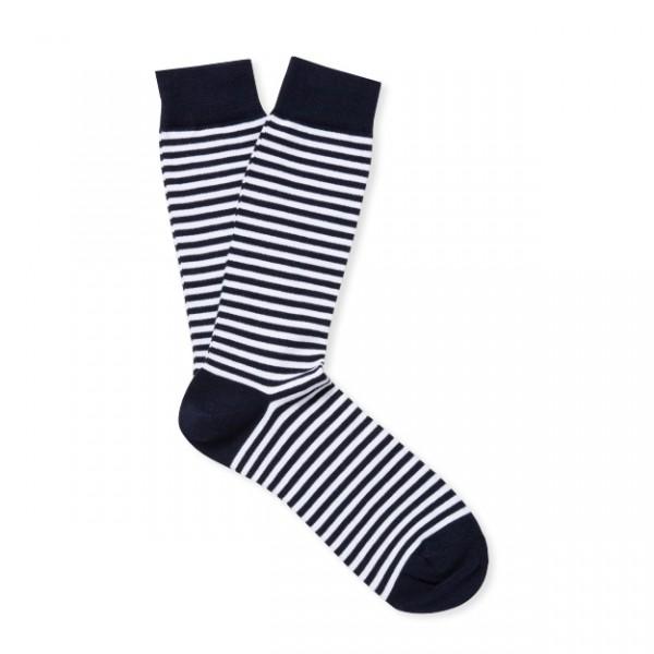 Sunspel Long Staple Stripe Cotton Sock (White/Navy)