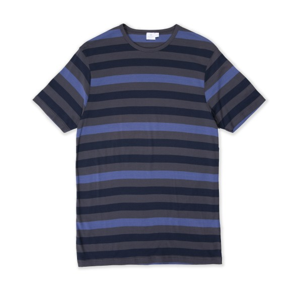 Sunspel Multi Stripe Crew Neck T-Shirt (Charcoal/Navy/Plum)
