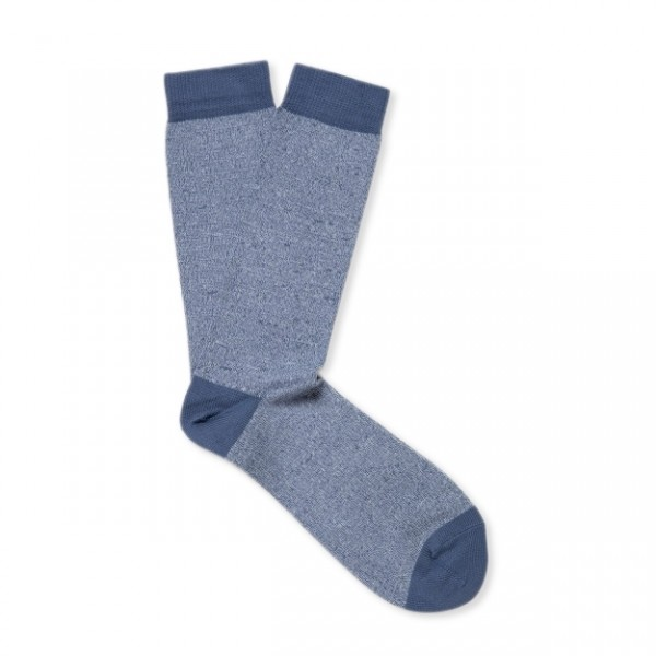 Sunspel Organic Cotton Sock (Polar Blue/Airforce Twist)