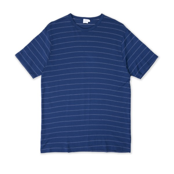 Sunspel Q82 Stripe Crew Neck T-Shirt (Trent/White)
