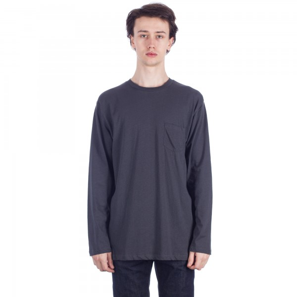 Sunspel Relaxed Long Sleeve Pocket T-Shirt (Charcoal)