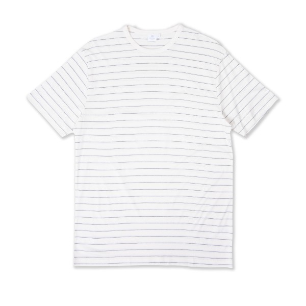 Sunspel Stripe Crew Neck T-Shirt (Archive White/Charcoal Melange/Grey Drawn)