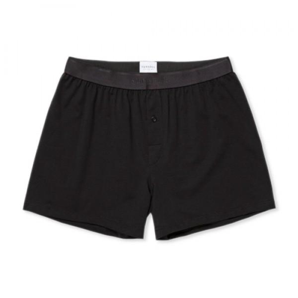 Sunspel Superfine Cotton One-Button Shorts (Black)