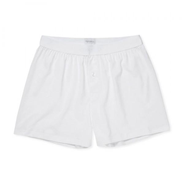 Sunspel Superfine Cotton One-Button Shorts (White)