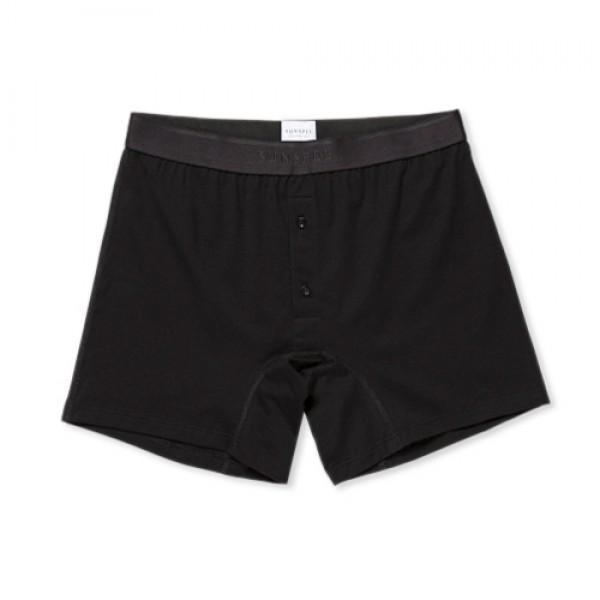 Sunspel Superfine Cotton Two-Button Shorts (Black)