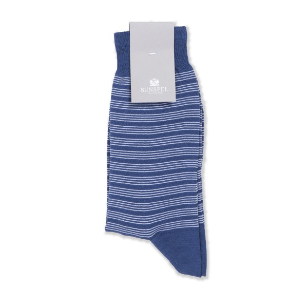 Sunspel Triple Fine Stripe Mercerised Cotton Sock (Masonry Blue/Archive White)