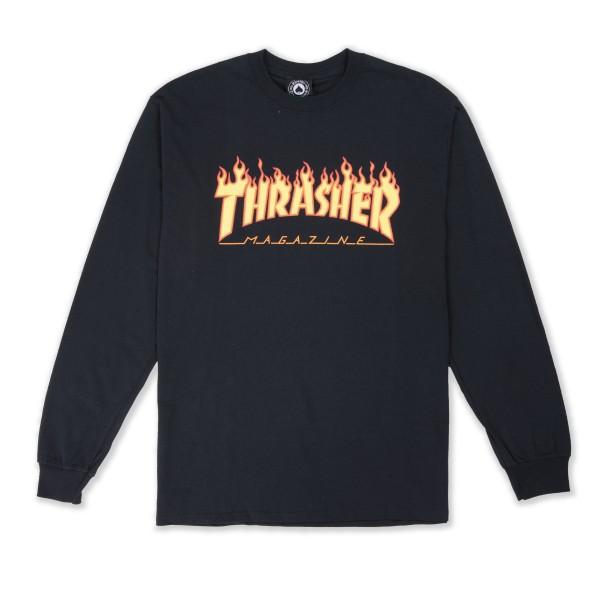Thrasher Flame Logo Long Sleeve T-Shirt (Black)