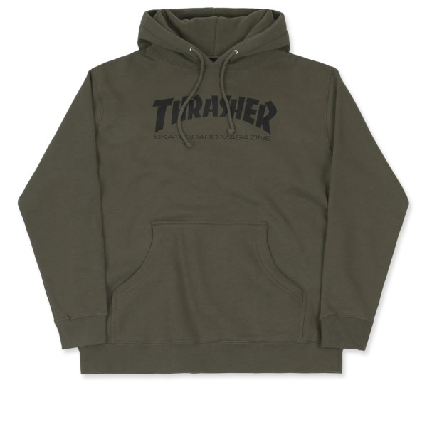 Thrasher Logo Pullover Hooded Sweatshirt (Army Green)