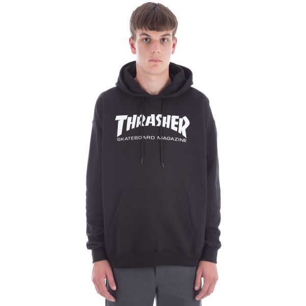Thrasher Logo Pullover Hooded Sweatshirt (Black/White)