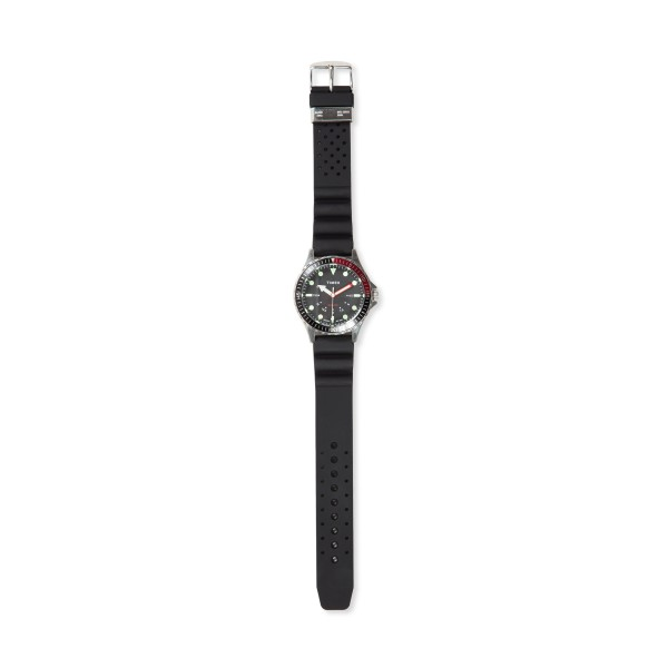 Timex Navi Depth Steel Case 38mm with Silicone Strap Watch (Stainless Steel/Black)