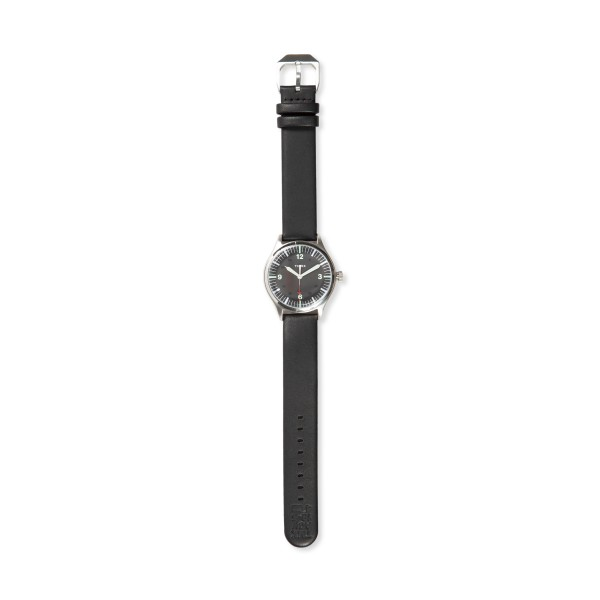 Timex Waterbury United Steel Case 38mm with Leather Strap Watch (Stainless Steel/Black)