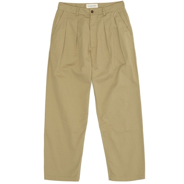 Universal Works Double Pleat Pant (Sand Cotton Twill)