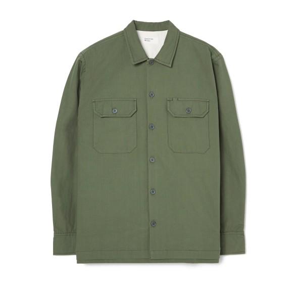 Universal Works Military Slub Cotton Long Sleeve Utility Shirt (Olive)