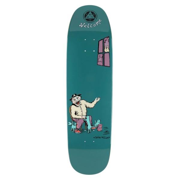 """Welcome Bird Feeder Chris Miller Catblood 2.0 Skateboard Deck 8.75"""" (Deep Teal)"""