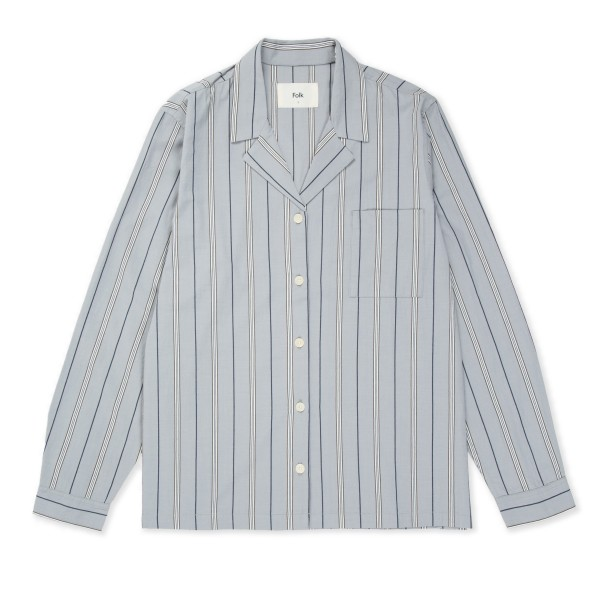 Women's Folk Long Sleeve Soft Collar Shirt (Pyjama Stripe)