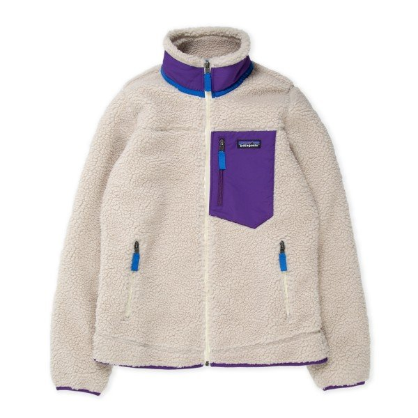 Women's Patagonia Classic Retro-X Fleece Jacket (Natural w/Purple)